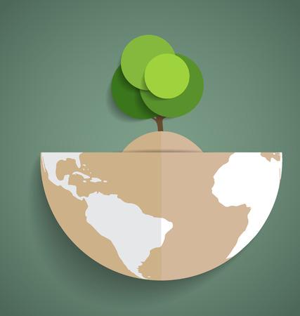 Green Eco Earth, Paper green tree on globe, vector illustration. Vector