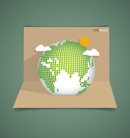 pop up: Pop-up kaart met Green Eco aarde. Vector illustratie.