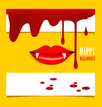 blood dripping: Happy Halloween design background with vampire mouth. Vector illustration.