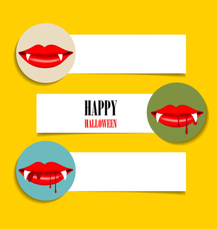 Cute note papers, Happy Halloween design background with vampire mouth. Vector illustration. Vector