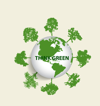 greenpeace: Green Eco Earth, Green earth with trees. Vector Illustration