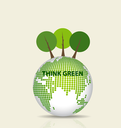 Green Eco Earth, Green earth with tree. Vector Illustration. Vector