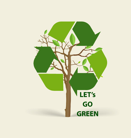 recycle symbol vector: Tree shaped Recycle symbol. Vector symbol on the packaging, vector Illustration. Illustration