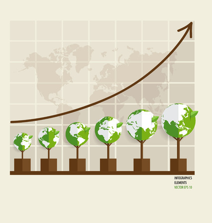 Ecology Infographics design elements. Graph of growing sustainable environment with business. Vector illustration. Vector