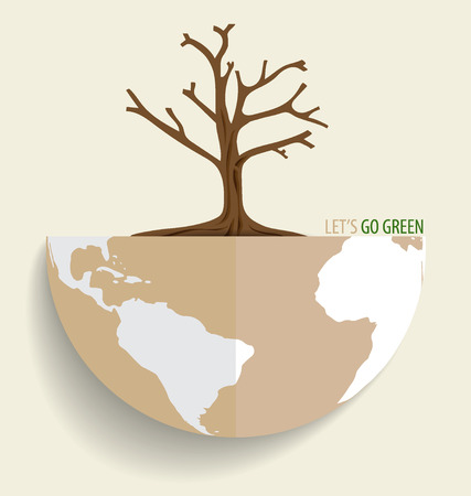deforested: Save the world, Dry tree on a deforested globe. Vector illustration.