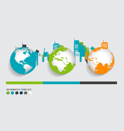 Modern infographics template style ,modern globe with building background. Vector illustration. Vector