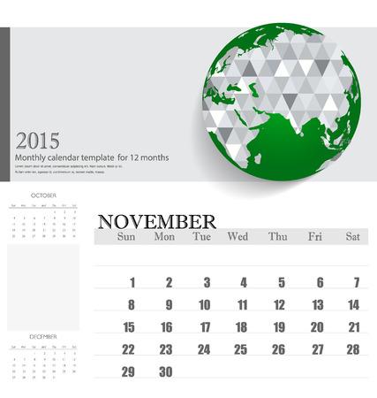 Simple 2015 calendar, November. Vector illustration. Vector