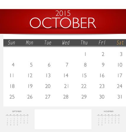 kalender oktober: Eenvoudige 2015 kalender, oktober. Vector illustratie.