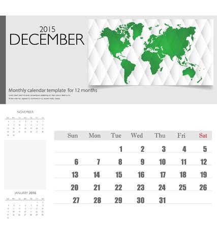 december kalender: Eenvoudige 2015 kalender, december. Vector illustratie.