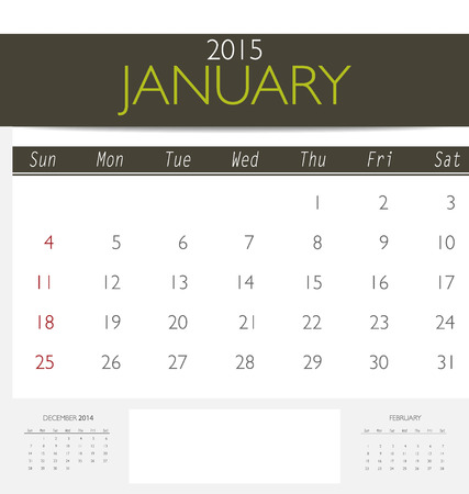 2015 Kalender, Monatskalender Vorlage Für Januar. Vektor ...