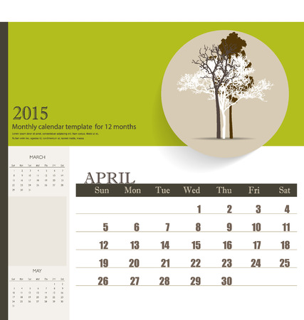 2015 calendar, monthly calendar template for April. Vector illustration. Vector