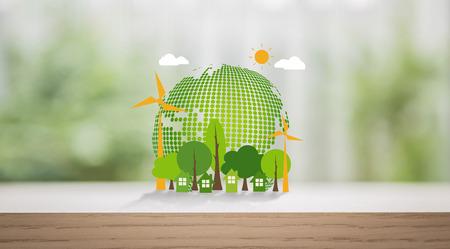 木のテーブルに地球環境やさしい