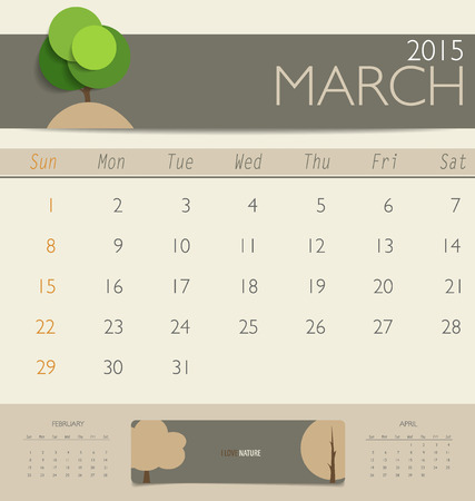 2015 calendar, monthly calendar template for March. Vector illustration. Vector