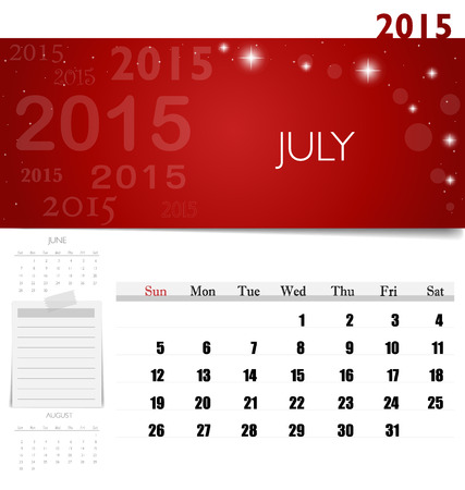 2015 calendar, monthly calendar template for July. Vector illustration. Vector