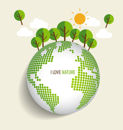 Green Eco Earth, Green earth with trees. Vector Illustration Vector