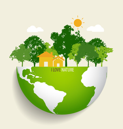 greenhouse and ecology: Green Eco Earth. Vector Illustration.