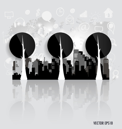 Modern infographics template style. Tree with application icon. Vector illustration. Vector