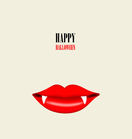 Happy Halloween design background with Vampire mouth. Vector illustration. Vector
