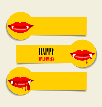 vampire: Happy Halloween design background, Cute note paper with Vampire mouth. Vector illustration. Illustration