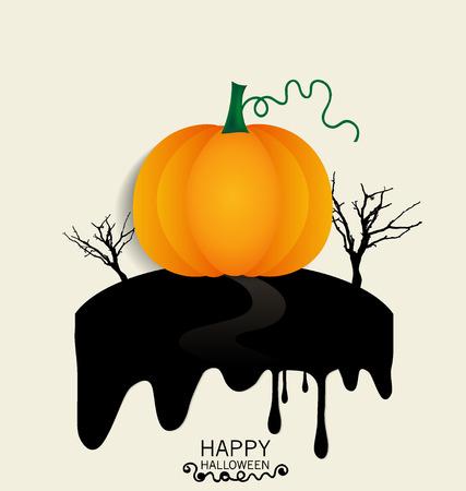 Happy Halloween design background with Halloween pumpkin. Vector illustration. Vector
