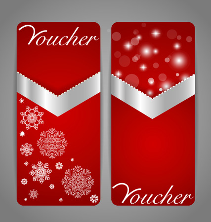 Gift coupon with gold ribbon. Vector illustration. Vector