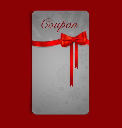 Gift coupon with gift bows and ribbons. Vector illustration. Vector