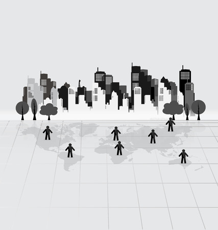 Social Network concept : People cut out of paper, vector illustration. Vector