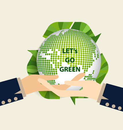 Green Eco Earth, Hand holding Green earth. Vector Illustration. Vector