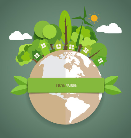 eco green: Green Eco Earth. Vector Illustration.