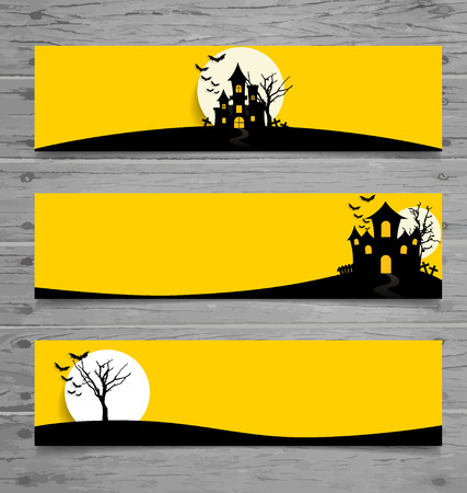 with spooky: Happy Halloween design background, Cute note paper with Halloween background. Vector illustration.