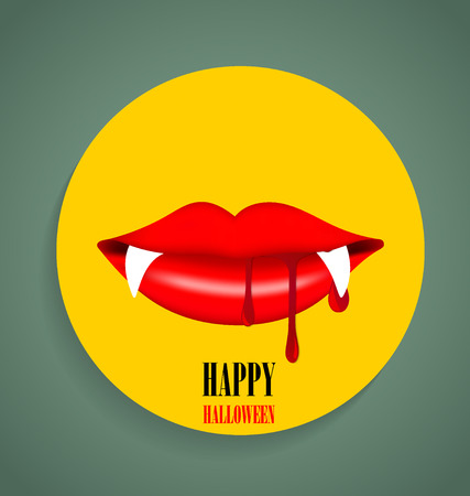 Happy Halloween design background, Cute note paper with Vampire mouth. Vector illustration. Vector