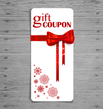 Gift coupon with gift bow and ribbon. Vector illustration. Vector