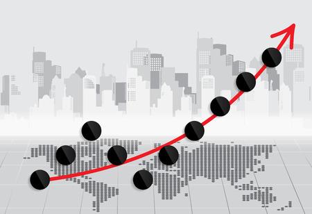 stock trader: Gr�fico cada vez mayor de negocios. Ilustraci�n del vector. Vectores