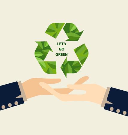 earth in hand: Verde Eco Tierra, Mano que sostiene el s�mbolo de reciclaje. Ilustraci�n del vector.