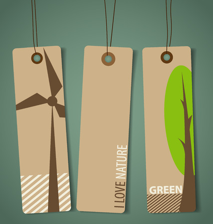 Nature banner, Eco organic labels and tags set. Vector illustration. Vector