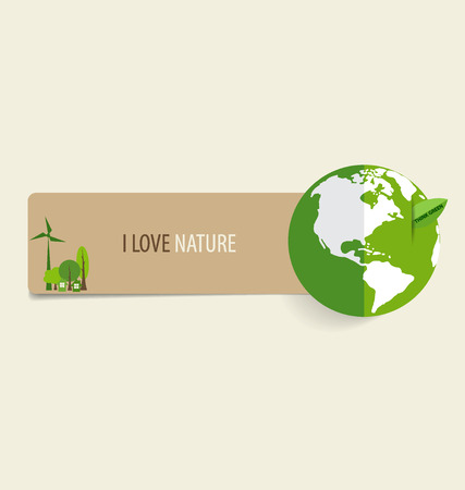 Nature banner, Paper with Green Eco Earth, vector illustration. Vector