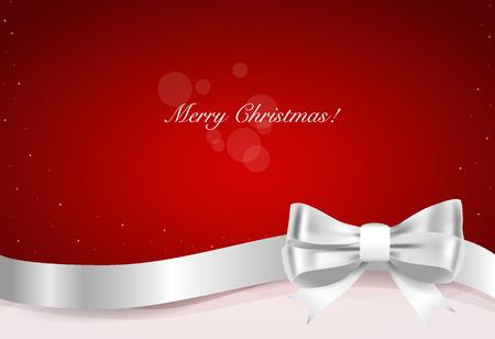クリスマスの背景。ギフト弓とシャイニーは、背景が赤のリボンします。ベクトルの図。