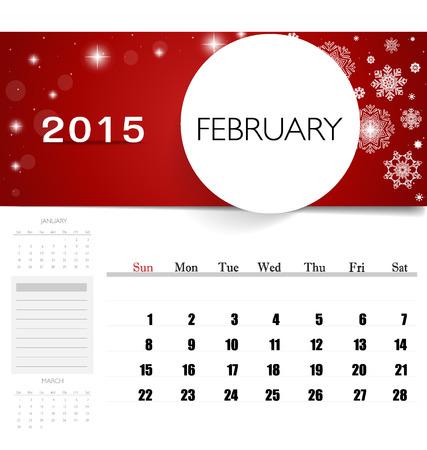 2015 calendar, monthly calendar template for February. Vector illustration. Vector