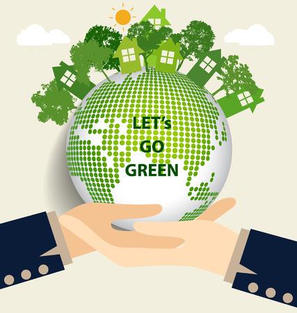 Hand holding Green Eco Earth. Vector Illustration. Vector