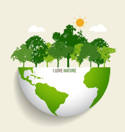 緑のエコ地球。ベクトルの図。