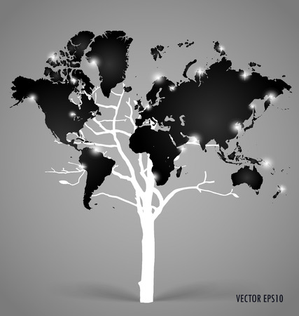 Tree shaped world map. Vector illustration. Illustration