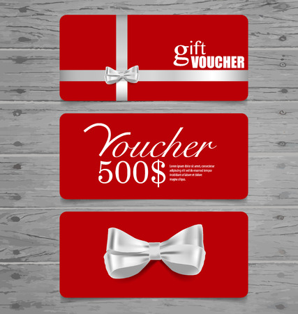 x mas card: Holiday Gift Coupons with gift bows and ribbons. Vector illustration. Illustration