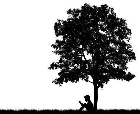 子供たちのシルエットが木の下で本を読む