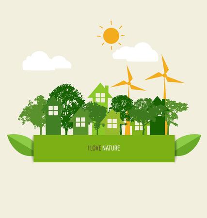 Green Eco Earth. Vector Illustration. Vector