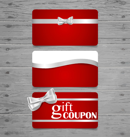 Holiday Gift Coupons with gift bows and ribbons. Vector illustration. 矢量图像