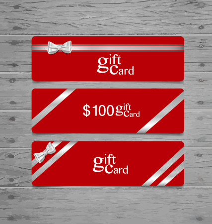 Holiday Gift Coupons with gift bows and ribbons. Vector illustration. Vector