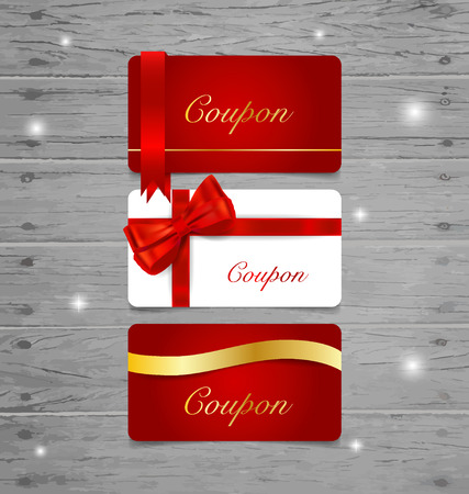 Holiday Gift Coupons with gift bows and ribbons. Vector illustration. Illustration
