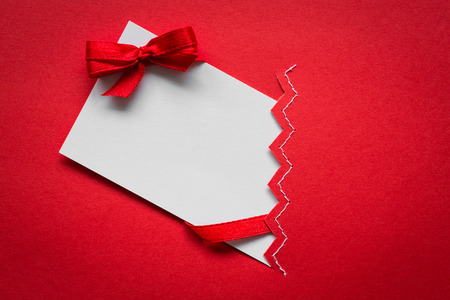 ribbons and bows: Card with red ribbons bows