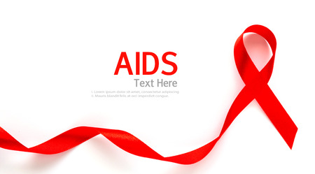 aids: Aids Awareness Red heart Ribbon isolated on white background