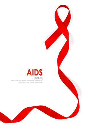Aids Awareness Red heart Ribbon on white background. Vector illustration. Vectores